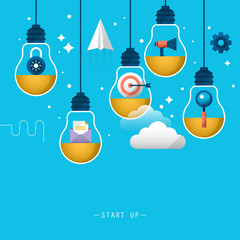 Start up business background. Stylish design with light bulb