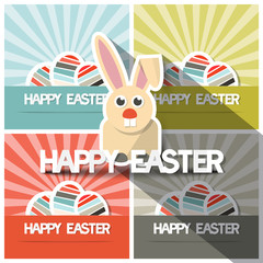 Easter Paper Flat Design Bunny Vector Illustration