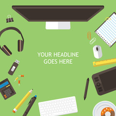 Office desk flat mock up template with flat stylish icons