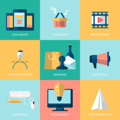 Flat modern icons for website development and services