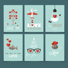 Valentine's day greeting card design in flat modern style