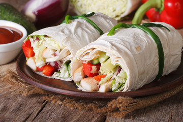 Burrito with chicken and vegetables horizontal