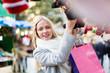 Beautiful woman at Christmas market