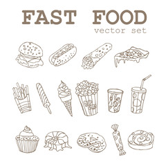 Set of  hand-drawing fastfood icons logo