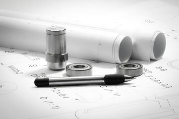 Konstruktion, technische Zeichnungen und Musterteile