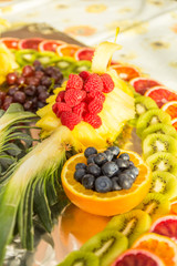 Homemade fruit plate of fresh fruit