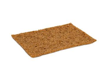Closeup of a thin rye crispbread with sourdough rye
