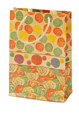 Paper color fashion gift bag on white background