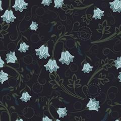 Seamless bell-flower floral vector wallpaper pattern.
