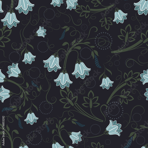 Spoed canvasdoek 2cm dik Kunstmatig Seamless bell-flower floral vector wallpaper pattern.