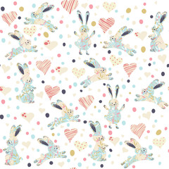 Seamless pattern with cartoon funny rabits