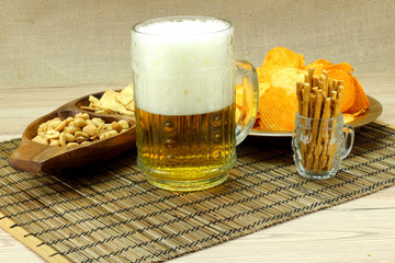 Beer with foam snack