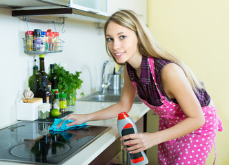 Housewife cleaning electric panel