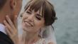 Beautiful girl looking in white wedding