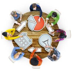Connecting Brainstorming Business Meeting Planning Seminar