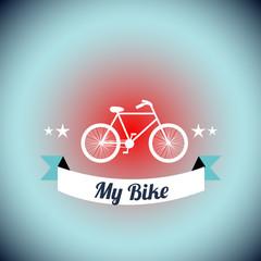 white Bicycle  illustration over blue degrade background