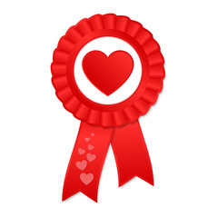Red award rosette with ribbon and heart