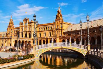сentral building and bridge at  Plaza de Espana. Sevilla, Spain