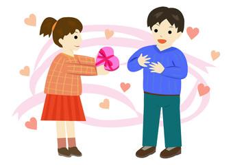 バレンタイン チョコレートを渡す女の子