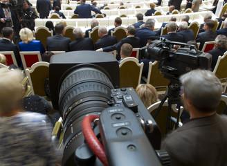 TV camera at press conference