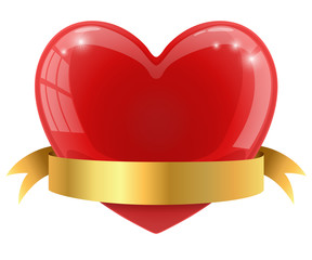 Red glossy heart with golden banner