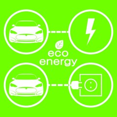 eco energy for car, charger station icons. Vector flat design