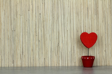 Valentine's heart in a red pot.