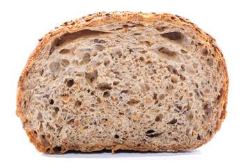Whole grain bread slice over white background
