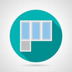 Flat vector icon for plastic balcony doors