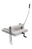 Guillotine paper cutter on white background