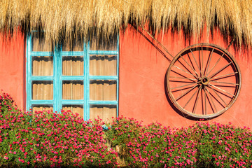 Red Wall and Flowers