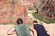 Hikers looking down Zion Canyon National Park Utah