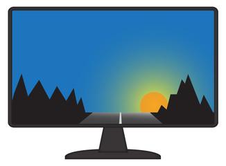 Mountain Scene On Computer Screen