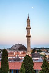 Mosque of Suleimaniye at dusk, Rhodes island, Greece