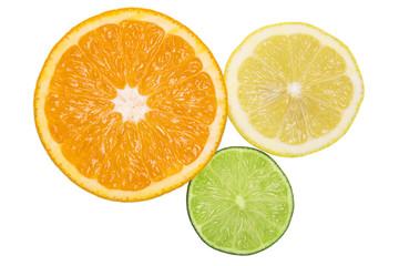 Healthy citrus fruity food. Slice of fresh orange, lemon, lime