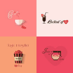 Valentine's day greeting card design with set of cups. Vector