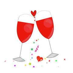Romantic card with glass of red wine