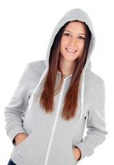 Happy hooded girl with grey sweatshirt