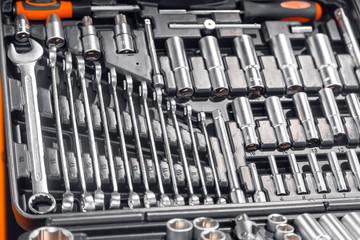 Industrial kit tools closeup