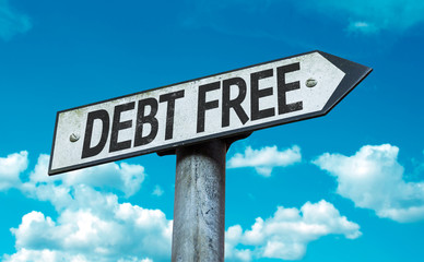 Debt Free sign with sky background