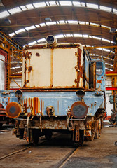 Old trains in abandoned depot