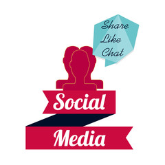 Social media illustration, persons head over white color backgro