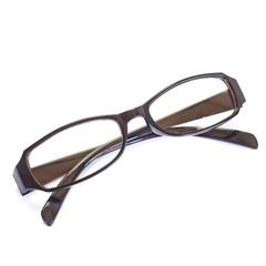 Black eyeglass frame isolated on white background