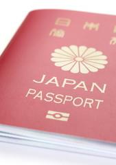 Close - up Japanese passport on white background