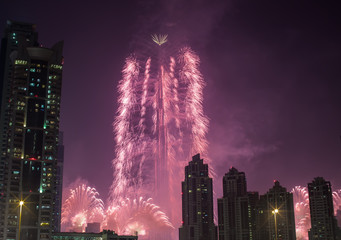 new year fireworks show at Burj khalifa in Dubai