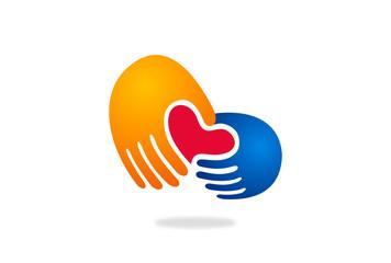 love in hand vector logo