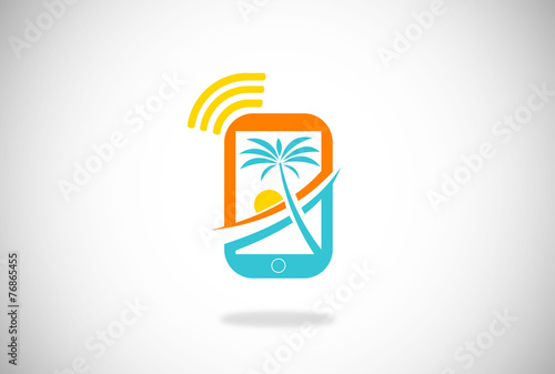 mobile phone beach holiday vector - 76865455