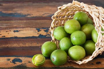 Brazilian fruit Spondias tuberosa (Brazil plum, umbu, imbu) with