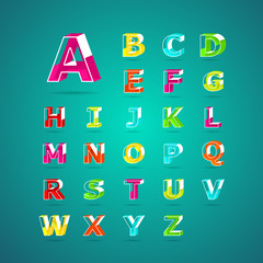 Isometric alphabet font.Capital letter A to Z