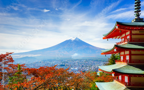 Leinwanddruck Bild Mt. Fuji with Chureito Pagoda, Fujiyoshida, Japan